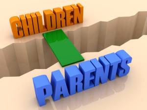 Two words CHILDREN and PARENTS united by bridge through separation crack. Concept 3D illustration.